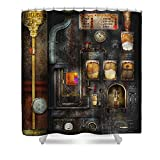 Pixels Shower Curtain (74'' x 71'') ''Steampunk - All That For A Cup Of Coffee''