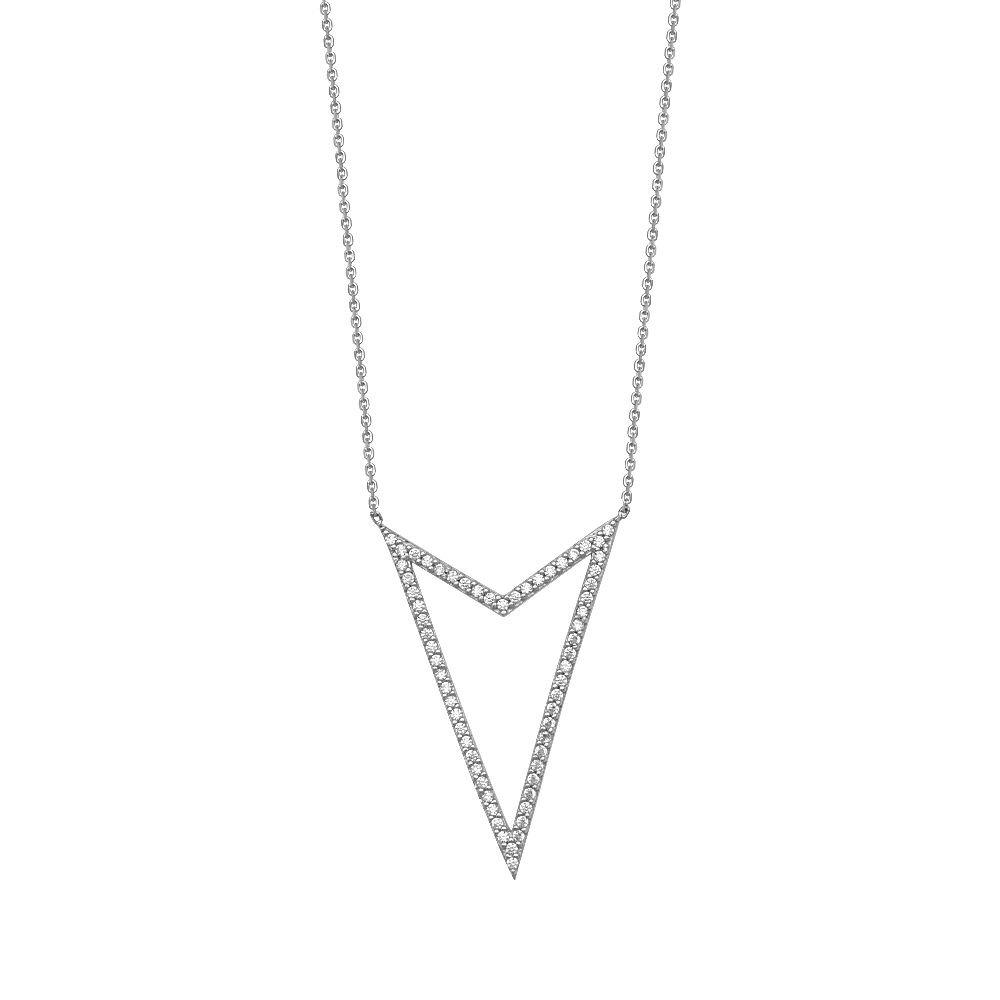 Sterling Silver Cubic Zirconia Arrow Head Adjustable Necklace