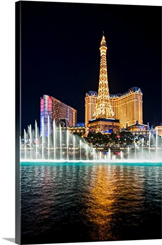Gallery-Wrapped Canvas entitled Bellagio Water Show, Eiffel Tower, Las Vegas by Circle Capture 20''x30'' by greatBIGcanvas
