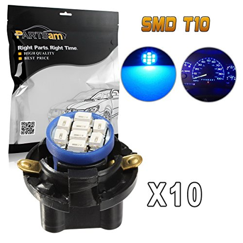 Partsam T10 PC194 LED Light Bulb 168 LED Bulbs Bright Instrument Panel Gauge Cluster Dashboard LED Light Bulbs with 13mm Twist Lock Base Sockets Speedometer Lamp 10Pack-Blue