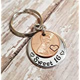 Sweet 16 Happy 16th Birthday Lucky Penny Key Chain with a 2004 Copper Coin