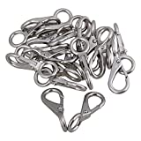 Mxfans 20Set 0# Stainless Steel Fixed Round Eye Boat Snap Hook Marine Accessory Silver