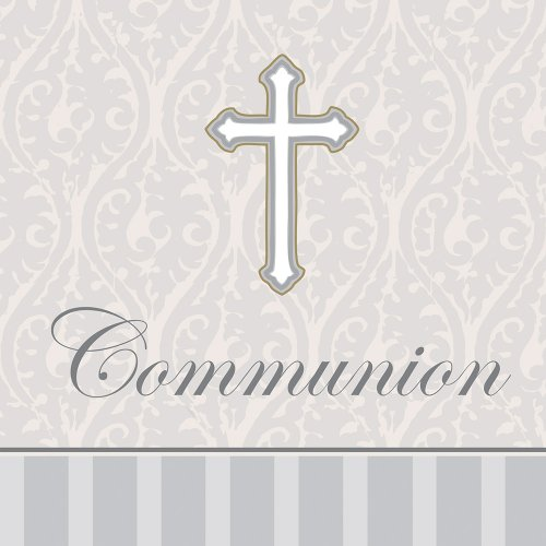 16-Count Communion Lunch Napkins, Silver Devotion Cross -