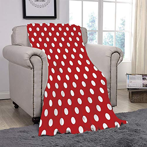 YOLIYANA Light Weight Fleece Throw Blanket/Retro,Vintage Polka Dots with Big White Circular Round Forms Nostalgic Girlish Kitsch Art Design,Red/for Couch Bed Sofa for Adults Teen Girls -