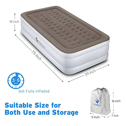 Etekcity 2 Pack Upgraded Air Mattress Blow Up Raised Airbed with Built-in High Capacity Pump, Height 18'', Twin Size by Etekcity (Image #1)