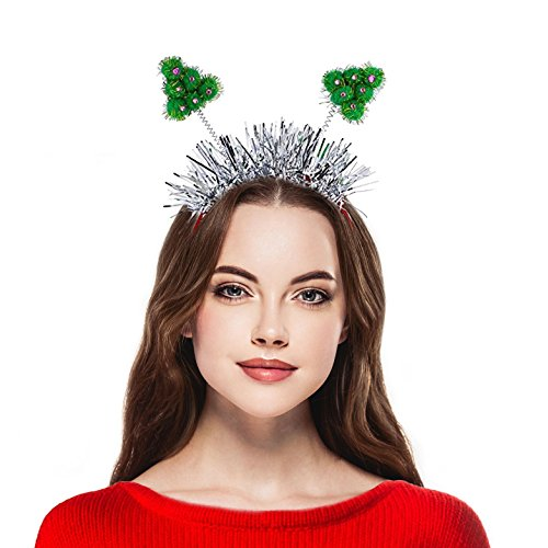 Cute Ring Leader Costume (Lux Accessories Holiday Christmas Tree Tinsel Head bopper Plastic Headband)