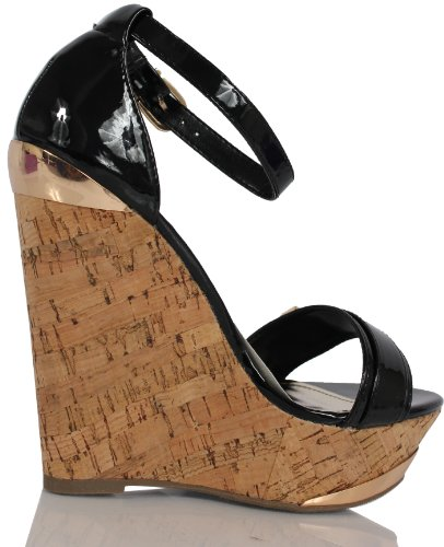 Strap Platform Black Ankle Leather Patent Wide Delicious Cork Wedge Faux Nicoya Womens BqYwOY