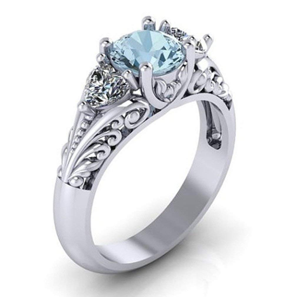 Dolland Women's Silver Oval Cut Natural Aquamarine Cubic Zirconia Ring Engagement Ring,8#