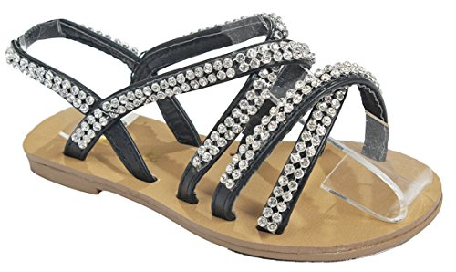 Baby Girls Toddlers Black Cute Crystal Rhinestone Strappy Gladiator Roman Toddler Infant Sandals-5