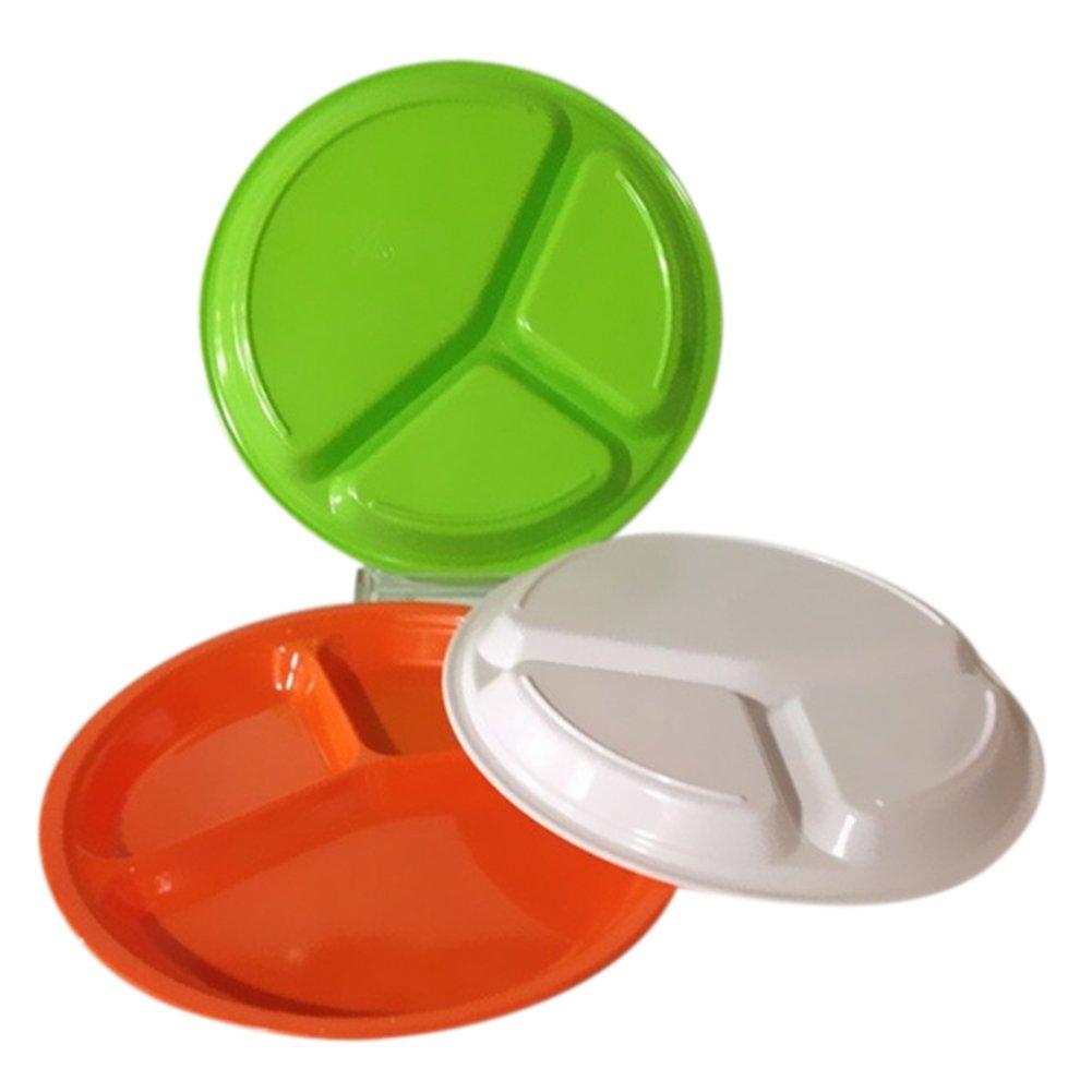 Highdas Kinder Melamin Runde Divided Platten-Teller-Beh/älter Utensils 10-Zoll-Gr/ün