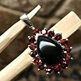 Natural 8ct Pyrope Garnet, Black Onyx 925 Solid Sterling Silver Designer Pendant 27mm long