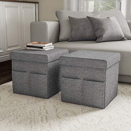 Lavish Home Foldable Storage Cube Ottoman with Pockets - Multipurpose Footrest Organizer for Bedroom, Living Room, Dorm or RV (Pair, Charcoal Gray), (Storage Footstool Cube)