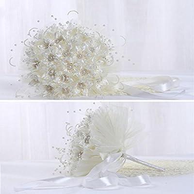 Qianle Romantic Wedding Rose Flower Bridal Bouquet Pearls Silk Lace Bouquet