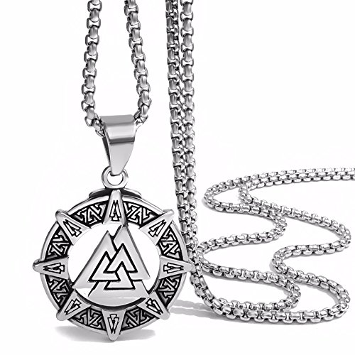 Elfasio Stainless Steel Pendant for Men Necklace Viking Valknut Odins Norse Warrior Chain Jewelry, Length 18-30 inch