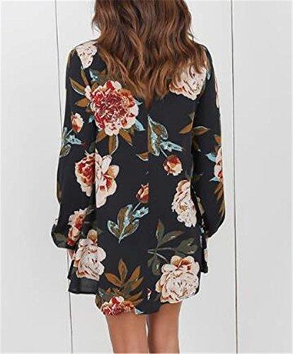 Shirt Taglie Semplice Camicia Tayaho Lunga Stampa Manica Camicetta Casual Classico Con Forti Elegante Moda T Donna Maglia E Floreale Maglietta Black Multicolore Blusa aSxz5SU
