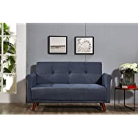 US Pride Furniture Ultra Modern Fabric Upholstered Sofa With Rolled Arms and Tufting With Splayed Leg Finish Denim