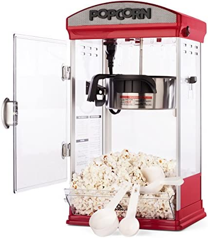 Carnus Home Popcorn Machine Features Popcorn Maker with Popcorn Scoop, Measuring Cup, Butter Spoon 4 ounce Kettle Popper