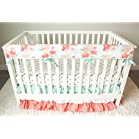 Peach and Mint Watercolor 3 Piece Crib Bedding Set