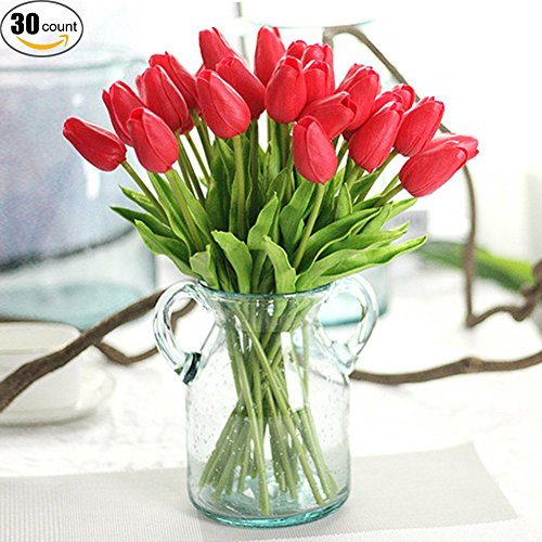 XHSP 30 pcs Real-touch Artificial Tulip Flowers Home Wedding Party (Red Tulip)