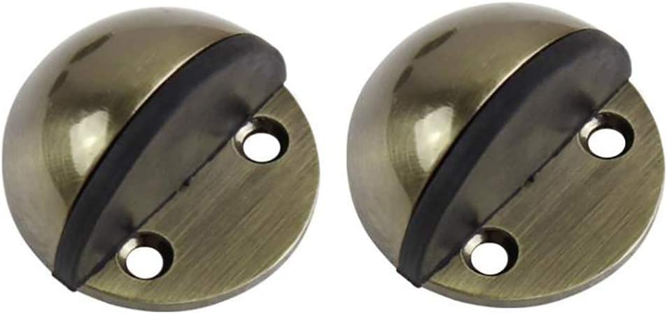 Green Bronze BTMB Stainless Steel Floor Door Stopper with Rubber Bumper Sound Dampening Doorstop with Double-Sided Adhesive Tape No Need to Drill,Pack of 2