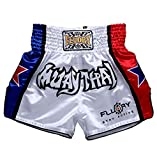 FLUORY Muay Thai Fight Shorts,MMA Shorts Clothing Training Cage Fighting Grappling Martial Arts Kickboxing Shorts Clothing , MTSF08WHITE , Small