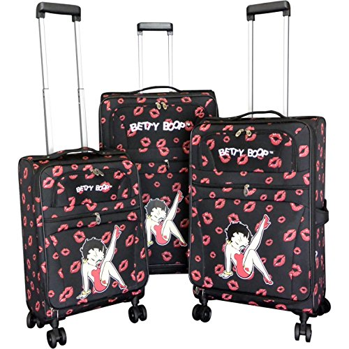 Licensed Betty Boop Leg (Betty Boop Black 3-piece Expandable Spinner Luggage Set)