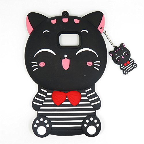 Samsung Galaxy Note 3 Case, Maoerdo Cute 3D Cartoon Black Stripes Plutus Cat Lucky Fortune Cat Kitty with Bow Tie Silicone Rubber Phone Case Cover for Samsung Galaxy Note - 3 Note 3d Cartoon Case