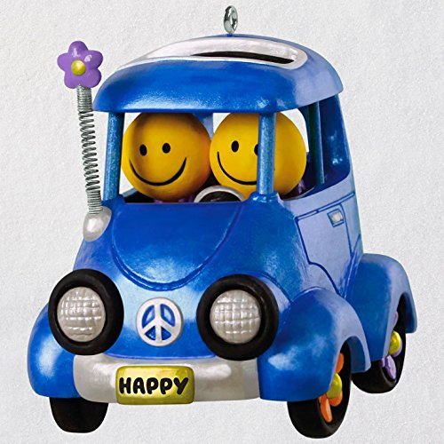 Hallmark Keepsake Christmas Ornament 2018 Year Dated, Happy Flower Power Car with Music and Solar Motion
