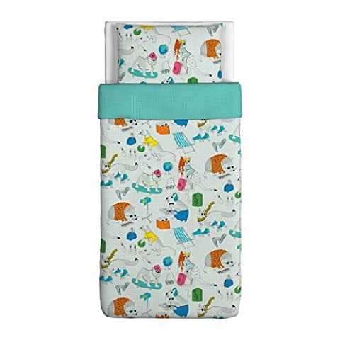 FLICKÖGA Duvet cover and pillowcase(s), white, multicolor (Ikea Twin Bedding)