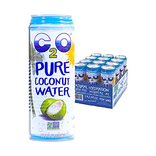 C2O Pure Coconut Water | Plant Based | Non-GMO | No Added Sugar | Essential Electrolytes | 17.5 FL OZ (Pack of 12)