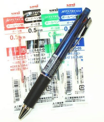 Uni-ball Jetstream 4&1 4 Color 0.5 Mm Ballpoint Multi Pen(msxe510005.9)+ 0.5 Mm Pencil(navy Body) & 4colors Ink Pens Refills Value Set(with Values Japan Original Discription of Goods)