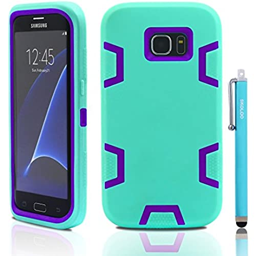 S7 Edge Case, Samsung Galaxy S7 Edge Case, Skoloo Full Body Hybrid Impact Shockproof Defender Case Cover for Galaxy S7 Edge (Purple in Mint Green) Sales