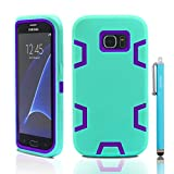 S7 Edge Case, Samsung Galaxy S7 Edge Case, Skoloo Full Body Hybrid Impact Shockproof Defender Case Cover for Galaxy S7 Edge (Purple in Mint Green)