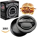 #7: Burger Press with Recipe eBook, Different Size Patty Molds and Non Sticking Coating, Unique 3 in 1 Stuffed Hamburger Maker, With 30 FREE Patty Papers, Discover New Tastes with Burger Art