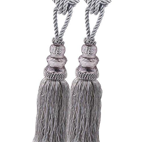 Chictie 2 Pack Curtain Tassel Tiebacks Crystal Beaded Fringe Ropes for Drapery Window Door Decorations (Gray) ()