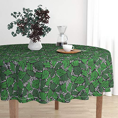 White Monarch Tablecloths - Roostery Round Tablecloth - Monarch Butterfly Mariposa Nature Green Leaves Black White Green Sfaut15 by Thestylesafari - Cotton Sateen Tablecloth 90in