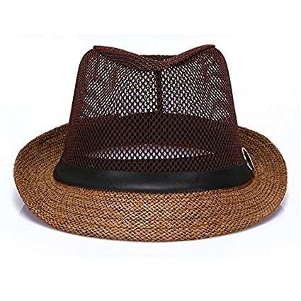 a50170212585c1 JOOWEN Classic Short Brim Straw with Black Band Fedora Hat Caps at Amazon  Women's Clothing store: