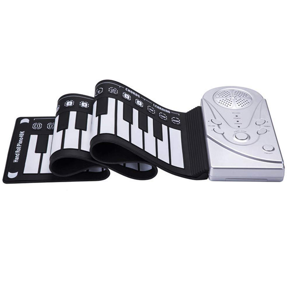 Elrido Portable Electronic Piano Keyboard Kids 49-Key Roll-Up Piano Keyboard Portable Flexible Musical Educational Toy Instrument Soft Responsive Keys Universal Soft Roll Up Piano (Silver)