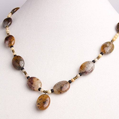 Fossil Round Earrings - Rutilated Quartz Melon Shaped Beads with Fossil Coral Jasper Round Beads and Black/Brown matt round seed beads Necklace, Earring, and Bracelet Set