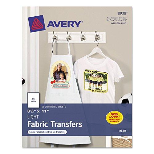 Avery 8938 Iron-On T-Shirt Transfers, f/Light Fabric, 18/PK, 8-1/2