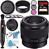 Sony FE 50mm f/1.8 Lens SEL50F18F + 49mm 3 Piece Filter Kit + 49mm Macro Close Up Kit + 256GB SDXC Card + Lens Pen Cleaner + Fibercloth + Lens Capkeeper + Deluxe Cleaning Kit Bundle