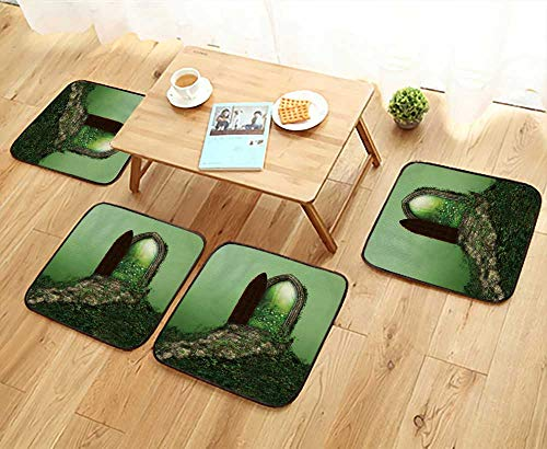 UHOO2018 Chair Cushions Fantasy Doorway Portal Framed by Green Vines Lead into a Idyllic Garden Non Slip Comfortable W25.5 x L25.5/4PCS Set