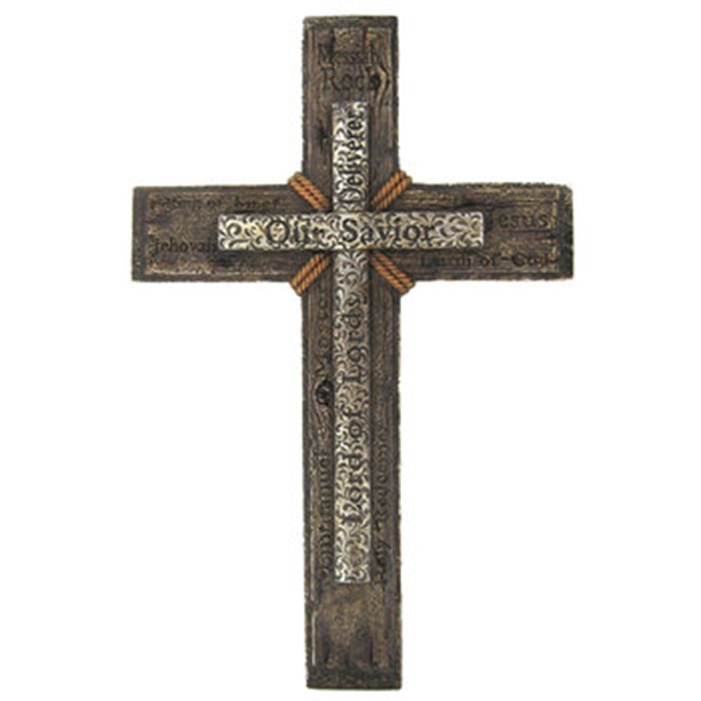 Very Large Elegant Our Savior Lord of Lords Cross on Cross Home Wall Decor 19'' x 12'' ~ Heavy