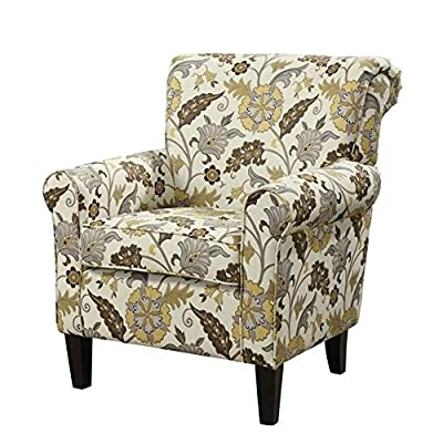 Coaster Casual Cream/Floral Accent Chair with Decorative Rolled Arms