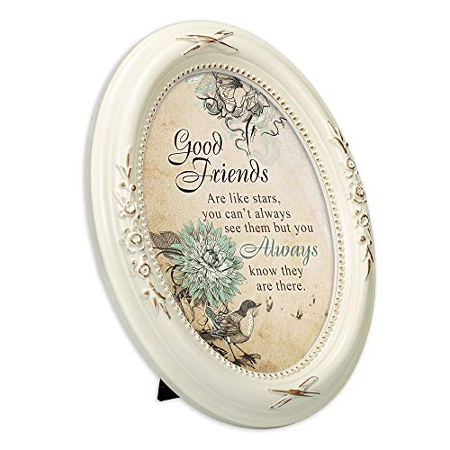 Cottage Garden Good Friends are Like Stars Distressed Ivory Floral 5 x 7 Oval Table and Wall Photo Frame