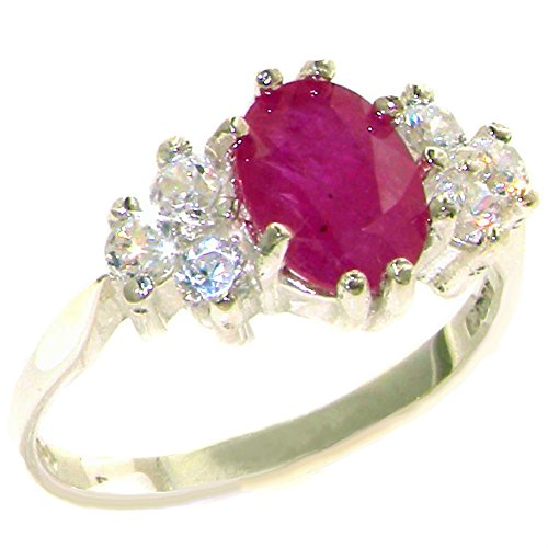 14k Diamond Estate Ring (14k White Gold Natural Ruby and Diamond Womens Cluster Ring (0.36 cttw, H-I Color, I2-I3 Clarity))