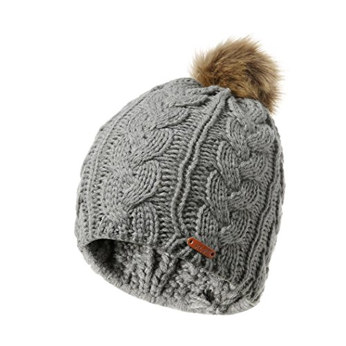 Fheaven (TM) Cable Knit Skull Beanie -Pompoms Beanie Hat Thick Knit Hat Warm Winter Hat For Women (gray)