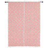 "CafePress - Coral White Quatrefoil 84 Curtains - 84"" Window Curtains, Shear Window Treatment"