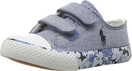Polo Ralph Lauren Kids Baby Girl's Slone EZ (Toddler) Blue Chambray/Navy Pony Player/Printed Floral Foxing 4 M US (Toddler Navy Canvas Footwear)