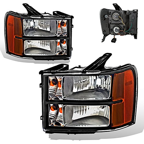 SPPC Black Headlights Assembly Set For GMC Sierra / Denali (Pair) High/Low Beam Bulb Included Driver Left and Passenger Right Side Replacement Headlamp